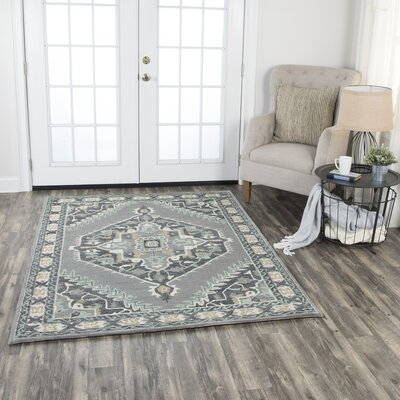 Genny Rustic Hand-Tufted Wool Gray Area Rug Rug Size: 5 x 7
