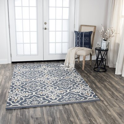 Treska Hand-Tufted Wool Dark Gray Area Rug Rug Size: 8 x 10