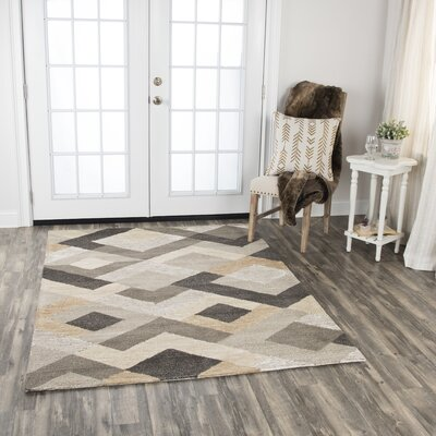 Prochaska Hand-Tufted Wool Brown Area Rug Rug Size: 5 x 7