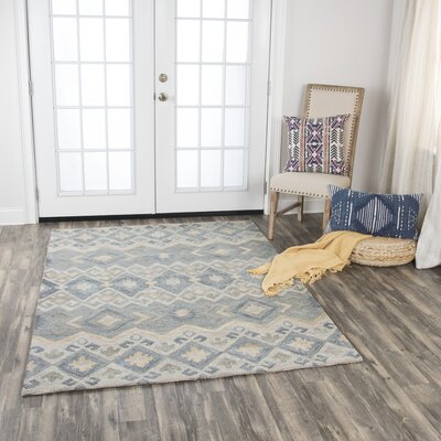 Pittard Geometric Hand-Tufted Wool Gray Area Rug Rug Size: 8 x 10