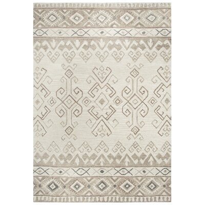 Pittard Hand-Tufted Wool Ivory Area Rug Rug Size: 5 x 7
