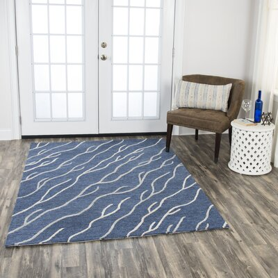 Aveno Hand-Tufted Wool Blue Area Rug Rug Size: 5 x 7