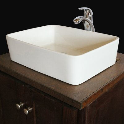 Sauberzen Vitreous China Rectangular Vessel Bathroom Sink