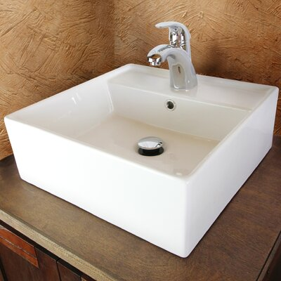 Sauberzen Vitreous China Rectangular Vessel Bathroom Sink with Overflow