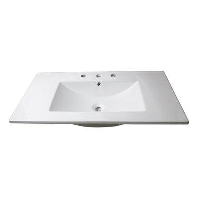 Sauberzen Vitreous China Rectangular Drop-In Bathroom Sink with Overflow