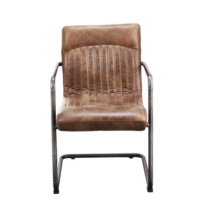 Belmiro Genuine Leather Upholstered Dining Chair