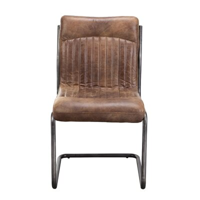 Belmiro Modern Genuine Leather Upholstered Dining Chair