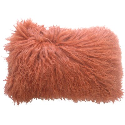 Layden Lamb Fur Throw Pillow FInish: Orange