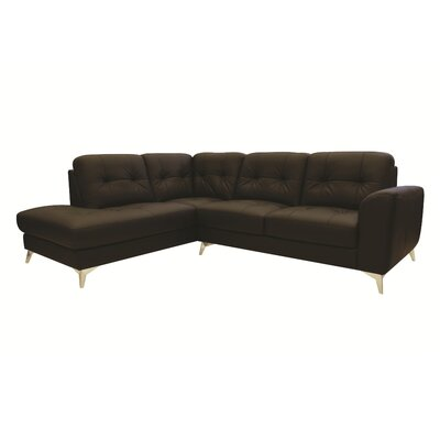 Abhay L-Shape Leather Sectional Upholstery: Brown