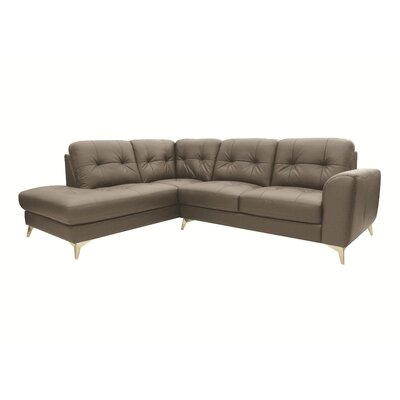 Abhay L-Shape Leather Sectional Upholstery: Light Gray