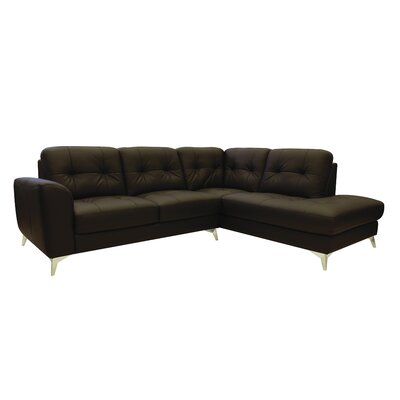 Abhay Leather Sectional Upholstery: Brown