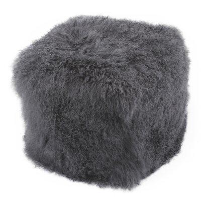 Sabra Fur Ottoman Upholstery: Charcoal Gray