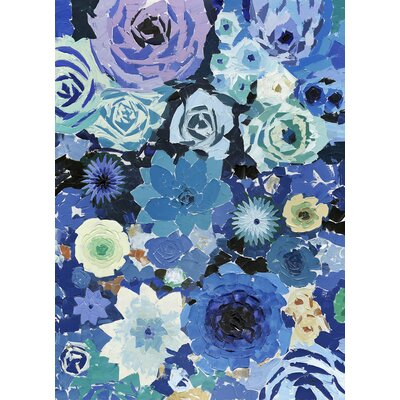 'Blue Flowers' Acrylic Painting Print