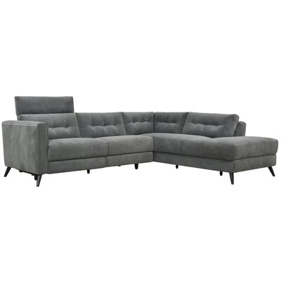 Dante Reclining Power Modular Sectional Upholstery: Gray, Orientation: Right Hand Facing