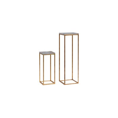 Drake Lucite 2 Piece Nesting Tables Color: Gold Leaf