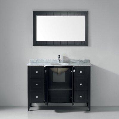 Ridgeport 48 Single Bathroom Vanity Set with Mirror Base Finish: Espresso, Top Finish: Carrera Marble