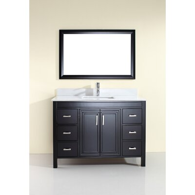 Coraline 48 Single Bathroom Vanity Set with Mirror Base Finish: Espresso, Top Finish: Carrera Marble