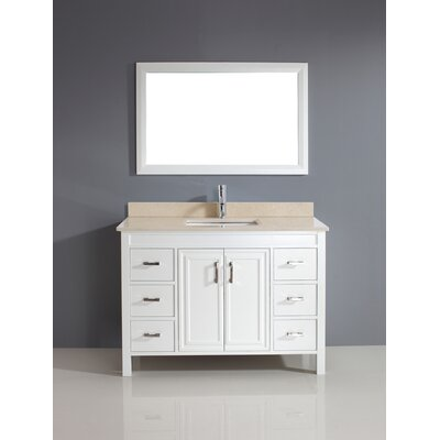 Coraline 48 Single Bathroom Vanity Set with Mirror Top Finish: Gala Beige, Base Finish: White