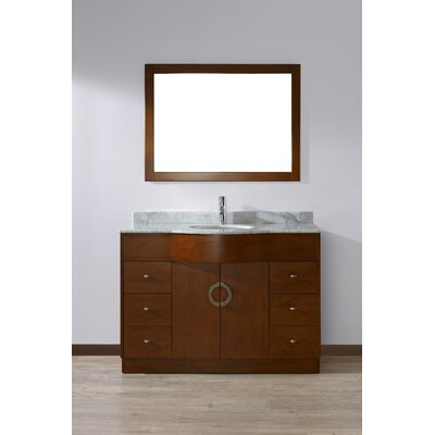 Zed 48 Single Bathroom Vanity Set with Mirror Base Finish: Classic Cherry, Top Finish: Carrera Marble