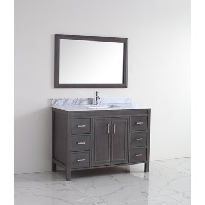 Coraline 48 Single Bathroom Vanity Set with Mirror Base Finish: French Gray, Top Finish: Carrera Marble