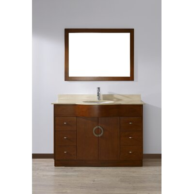 Zed 48 Single Bathroom Vanity Set with Mirror Base Finish: Classic Cherry, Top Finish: Gala Beige