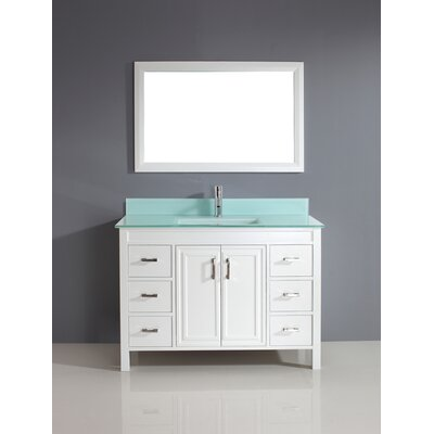 Coraline 48 Single Bathroom Vanity Set with Mirror Top Finish: Mint Green Glass, Base Finish: White