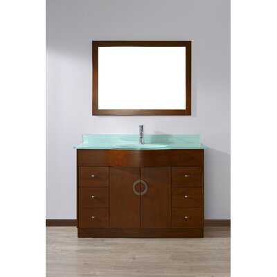Zed 48 Single Bathroom Vanity Set with Mirror Top Finish: Mint Green Glass, Base Finish: Classic Cherry