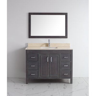 Coraline 48 Single Bathroom Vanity Set with Mirror Base Finish: French Gray, Top Finish: Gala Beige