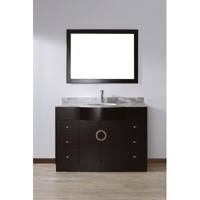Zed 48 Single Bathroom Vanity Set with Mirror Base Finish: Espresso, Top Finish: Carrera Marble