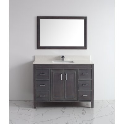 Coraline 48 Single Bathroom Vanity Set with Mirror Base Finish: French Gray, Top Finish: Solid Surface Carrera
