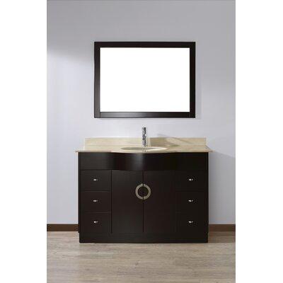 Zed 48 Single Bathroom Vanity Set with Mirror Base Finish: Espresso, Top Finish: Gala Beige