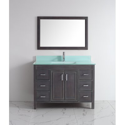 Coraline 48 Single Bathroom Vanity Set with Mirror Base Finish: French Gray, Top Finish: Mint Green Glass