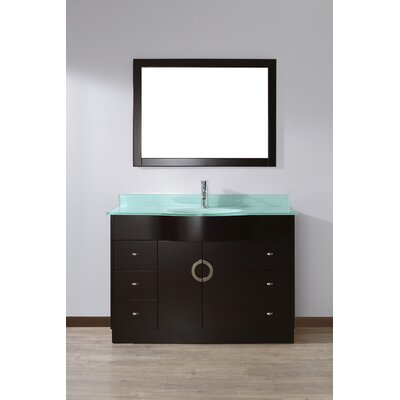 Zed 48 Single Bathroom Vanity Set with Mirror Base Finish: Espresso, Top Finish: Mint Green Glass