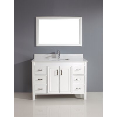 Coraline 48 Single Bathroom Vanity Set with Mirror Base Finish: White, Top Finish: Solid Surface Carrera