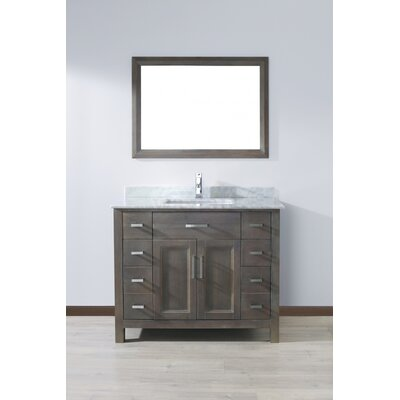 Klimek 42 Single Bathroom Vanity Set with Mirror Base Finish: French Gray, Top Finish: Grey
