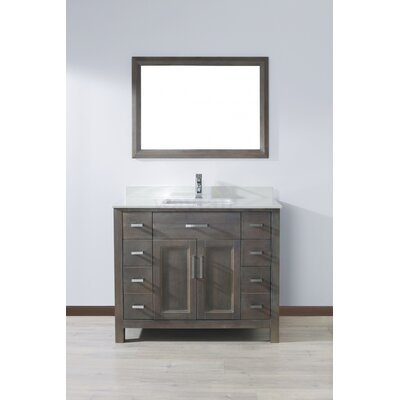 Klimek 42 Single Bathroom Vanity Set with Mirror Base Finish: French Gray, Top Finish: White