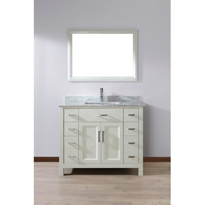 Celize 42 Single Bathroom Vanity Set with Mirror Top Finish: Grey, Base Finish: White