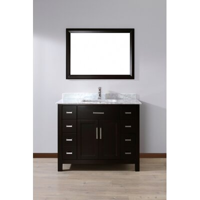 Klimek 42 Single Bathroom Vanity Set with Mirror Base Finish: Espresso, Top Finish: Grey