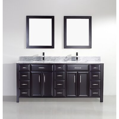 Caledonia 75 Double Bathroom Vanity Set Base Finish: Espresso, Top Finish: Grey