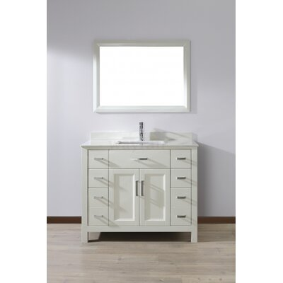 Klimek 42 Single Bathroom Vanity Set with Mirror Base Finish: White, Top Finish: White