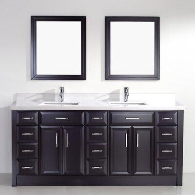 Caledonia 75 Double Bathroom Vanity Set Base Finish: Espresso, Top Finish: White