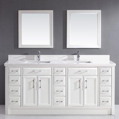 Caledonia 75 Double Bathroom Vanity Set Base Finish: White, Top Finish: White