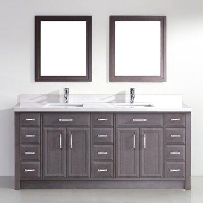 Caledonia 75 Double Bathroom Vanity Set Top Finish: White, Base Finish: French Gray