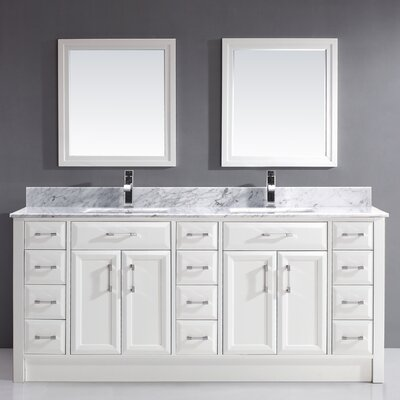 Caledonia 75 Double Bathroom Vanity Set Top Finish: Grey, Base Finish: White