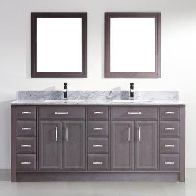 Caledonia 75 Double Bathroom Vanity Set Base Finish: French Gray, Top Finish: Grey
