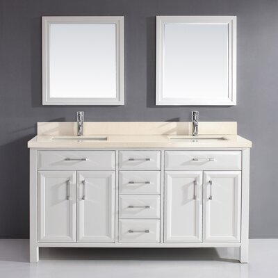 Caledonia 63 Double Bathroom Vanity Set with Mirror Base Finish: White, Top Finish: Solid Surface Beige
