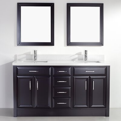 Caledonia 63 Double Bathroom Vanity Set with Mirror Base Finish: Espresso, Top Finish: Solid Surface Carrera