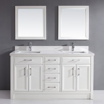 Caledonia 63 Double Bathroom Vanity Set with Mirror Top Finish: Solid Surface Carrera, Base Finish: White