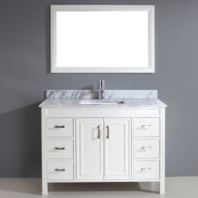 Coraline 48 Single Bathroom Vanity Set with Mirror Top Finish: Carrera Marble, Base Finish: White