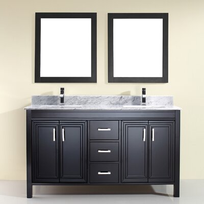 Coraline 60 Double Bathroom Vanity Set with Mirror Base Finish: Espresso, Top Finish: Carrera Marble